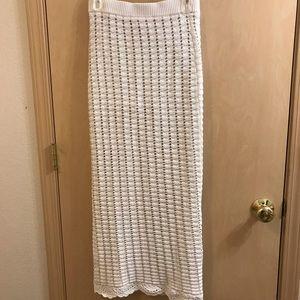 Endless Rose Crochet Column Maxi Skirt, Cream